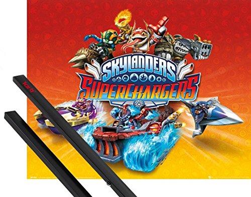 1art1 Skylanders Mini-Poster (50x40 cm) Superchargers, Charaktere Inklusive EIN Paar Posterleisten, Schwarz