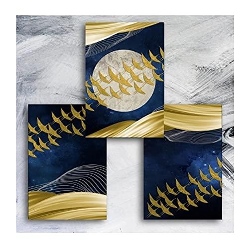 HANSHUO Aves Doradas abstractas Modernas Impresión en Lienzo Arte de la Pared Carteles Pinturas Decorativas para la Sala de Estar Decoración de la Pared del hogar (55x75cm × 3pcs) Sin Marco
