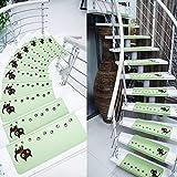 Ericcay 15 Unidades De Paso Alfombras De Escalera Noctilucentes Rectángulo único Protección De Ruido 55X22 Cm Elegante Casa De Campo Decoración Retro Casa Antideslizante (Color : Grün, Size : Size)