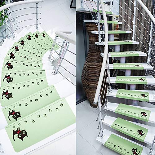 Ericcay 15 Unidades De Paso Alfombras De Escalera Noctilucentes Rectángulo único Protección...