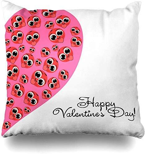 Mesllings Kissenbezug, Smiley, Pink, Amour Day, Valentinstag, Urlaub, Lippenstift, Rot, leuchtende Farben, Heimdekoration, 45 x 45 cm
