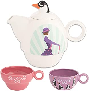 Disney Mary Poppins Teapot And Cups Set - Gift Boxed & Stackable For Storage