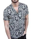 [ラッキーチャーム] (L) オープンカラーシャツ ダマスク柄 プリント 柄 シャツ 半袖 メンズ 黒 シャツ カジュアル オシャレ ボーイズ お洒落シャツ カッコイイシャツ シャツメンズ アウトドア オープン シンプル ブラック メンズカジュアルシャツ メンズ半袖シャツ メンズ柄シャツ カッコイイ ストリート スタイリッシュ レトロシャツ 開襟シャツ 総柄シャツ 春 夏 春夏 夏服 夏物