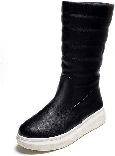 Fuxitoggo Stiefel para damen - Stiefel de Nieve Calientes Antideslizantes Planas de Invierno schuhe de algodón con Tubo Largo   35-43 (Farbe   schwarz, tamaño   38)