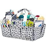 HOMEST Large Craft Caddy, Storage Bin for Sewing & Knitting & Crochet, Art Supplies Organizer Basket, Dot (Patent Design)