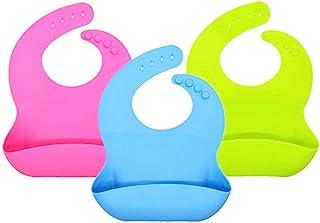 U Chef Baberos de Silicona para Bebé Set de 3 piezas 100% lavabable, ecológico, ajustable e impermeable