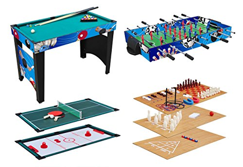KMH®, Spieltisch 12 in 1 / Multigame Tisch / Multifunktionstisch / Billard / Kicker / Gleithockey / Tischtennis usw. (#800031)