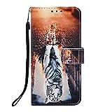 A40 Handyhülle Kompatible für Samsung Galaxy A40 Hülle Flip Hülle Cover Leder Tasche Malen Muster Schutzhülle Handytasche Skin Ständer Klapphülle Schale Bumper Mädchen Brieftasche-Tiger Katze