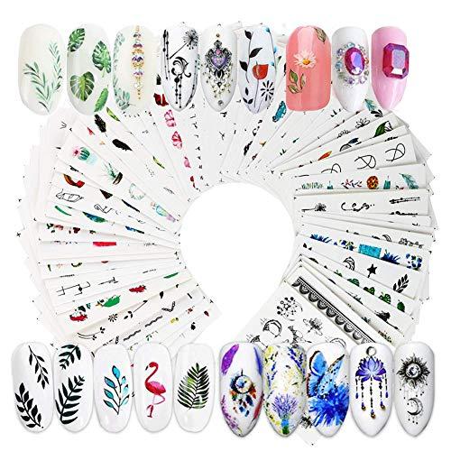 69 Blatt Nagel Sticker selbstklebende Tattoo Aufkleber Fingernägel Nagelsticker Blumen Wassertransfer Nageltattoo Abziehbilder nail Decals DIY Nail Art Dekoration (Blumen Wassertransfer)