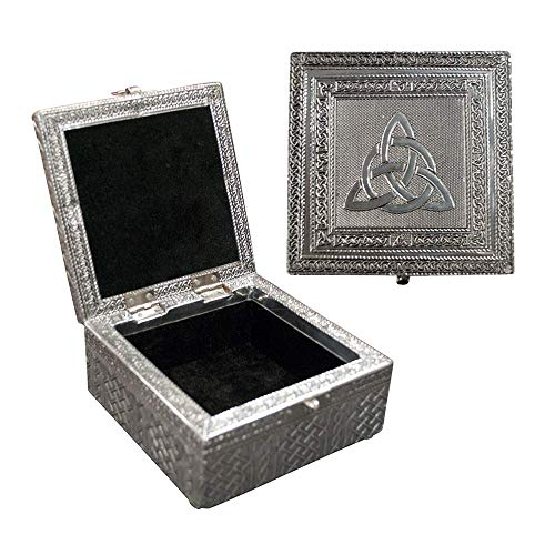 Vintage Jewelry Box Case | 9 Styles | Bronze or Silver Metallic Metal Plating with Floral Accent Designs | Perfect for Earrings Necklaces and Rings (Silver Celtic Knot)