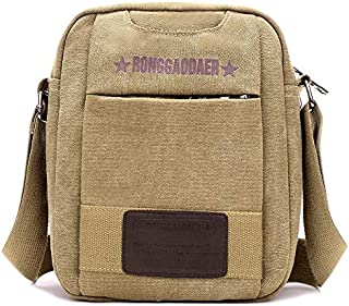 FYXKGLan Canvas Bag Canvas Shoulder Bag Men's Fashion Messenger Bag Casual Bag Diagonal Canvas Bag (Color : Khaki)