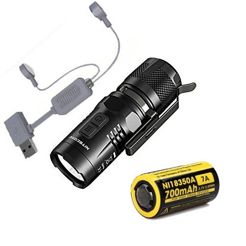 Nitecore EC11 Linterna LED de 900 lúmenes XM-L2 (U2) LED con batería IMR 7A y cargador USB Folomov