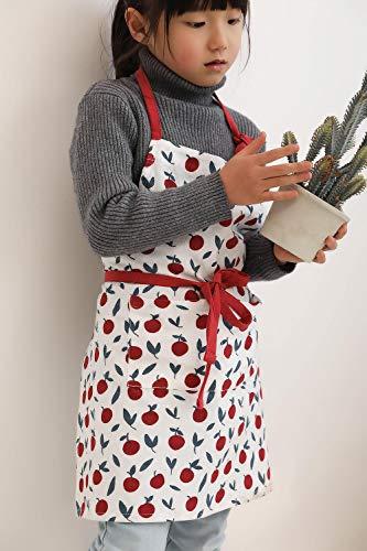 QMYYCL Tabliers Tablier Version Coréenne De Dessin Animé Mignon De Coton Et Lin Imprimé Tablier De Cuisine Parent-Enfant Enfants Cuisson Bavoir De Dessin Animé- [Cerise] Tablier-Enfant Imprimé
