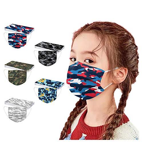 Woohooens 50 Stück Kinder Einweg Mundschutz Vliesstoff 3-Lagig mit Cartoon Druck Atmungsaktive Staubdicht Mund und Nasenschutz Halstuch für Jungen und Mädchen