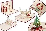3D-Pop-Up-Weihnachtskarten für beste Wünsche zu Weihnachten, Geburtstag, Festival, Dankeschön, Jahrestag & mehr, inklusive Weihnachtsbaum, Rentier, Glocke