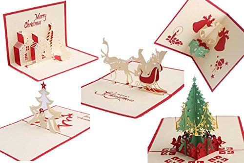 3d Pop-up tarjetas para mejores deseos en Navidad, cumpleaños, Festival, color pack de 5