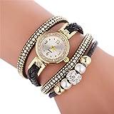 腕時計 織ツイスト真珠ラウンド女性のためのアナログクォーツ腕時計ブレスレットウォッチ(ホワイト) (Color : Red)