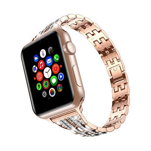 TOWOND Correa Compatible para Apple Watch Correas para Reloj Correa Pulsera de Repuesto de Acero Inoxidable Correa para Hombre Mujer Apple Watch iWatch Series 6/SE/5/4/3/2/1 Dolado Blateado, 4