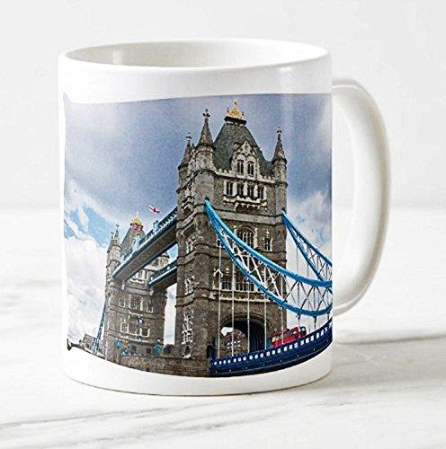 Fotografie Torsten Ackermann - Exklusiver Londoner Kaffee-Becher - Motiv: Blick auf die Tower Bridge in London (Aquarell) - Foto-Tassen/Bilder / Souvenirs