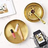DOKOT Rundes Tablett aus Edelstahl Serviertablett Goldfarben Schmuck- und Make-up-Organizer/Kerzenteller Gold (18 cm) - 6
