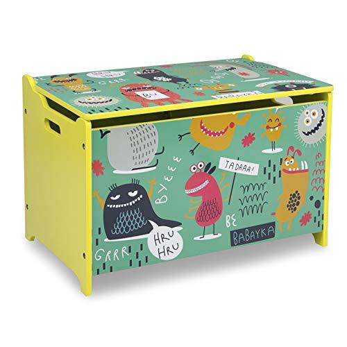 Homestyle4u 1856, Kinder Spielzeugkiste Bunt, Spielzeugtruhe Holz, Coole Monster