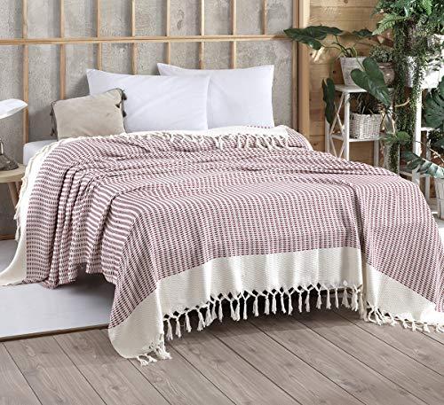Belle Living Vina Tagesdecke Überwurf Decke - Wohndecke hochwertig - perfekt für Bett & Sofa, 100prozent Baumwolle - handgefertigte Fransen, 200x250cm (Weinrot)