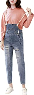 XINHEO Womens Hole Overalls Spring Summer Rolled Cuff Washed Bib Pants