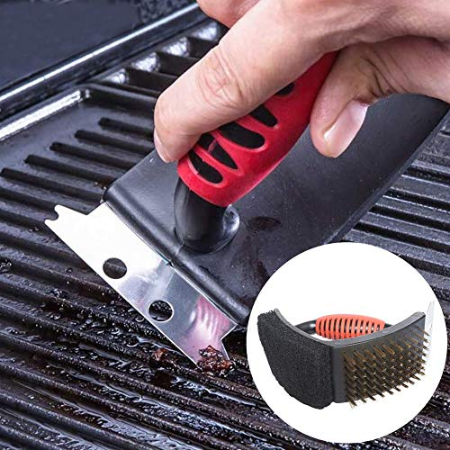 DaJun Barbecue Grill Brush, with Brass Brush and Stainless Steel Scarper Sponge, Safe, No Scratch Cleaning - Best for Any Grill: Char Broil & Ceramic