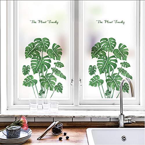 Djkaa Statische raamfolie, vorst, ondoorzichtig, ondoorzichtig, glas, zelfklevend, decoratie thuis, digitale print, groene planten 45*60cm(14.72*23.62 Inch)