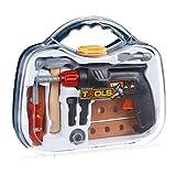 Relaxdays 10024275 Werkzeugkoffer für Kinder, 11-teilig mit Bohrmaschine (Drehfunktion), Handwerker Spielen, mit Hammer UVM, transparent