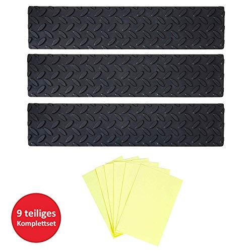 UPP Gummi-Stufenmatten I Anti Rutsch Streifen Machen Ihre Trppe Sicherer I Stufenmatten mit 2-Fach Anti-Rutsch Wirkung I Gummimatten für Ihre Treppenstufen [3 STK.]