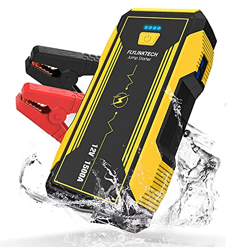 FLYLINKTECH Portable Automotive Jump Starter, 1500A 12V Lithium Car Battery Booster Jump Starter Pack Emergency Light w/ USB 3.0 Output / Type-C Input,for Up to 8.0L Gas & 6.0L Diesel Engines(Yellow)