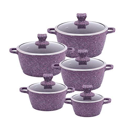 sq pro Granite Non-stick Stockpot Set 5 pcs whit Glass Lids - Purple