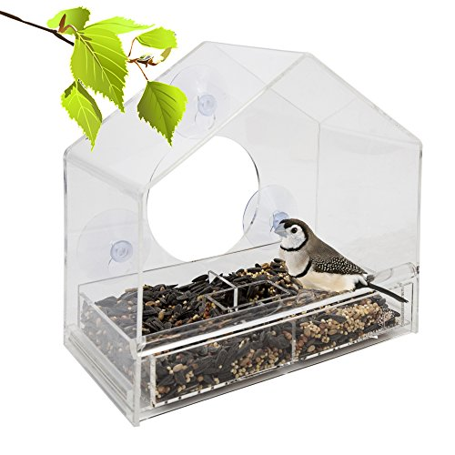 Large Clear Window Bird Feeder - Three Section Removable Multi-Purpose...