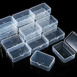 36 Pieces Small Clear Plastic Beads Storage Containers Box with Hinged Lid, Storage Case of Small Items, Crafts, Jewelry, Hardware (3.5 x 2.3 x 1.2 Inches)