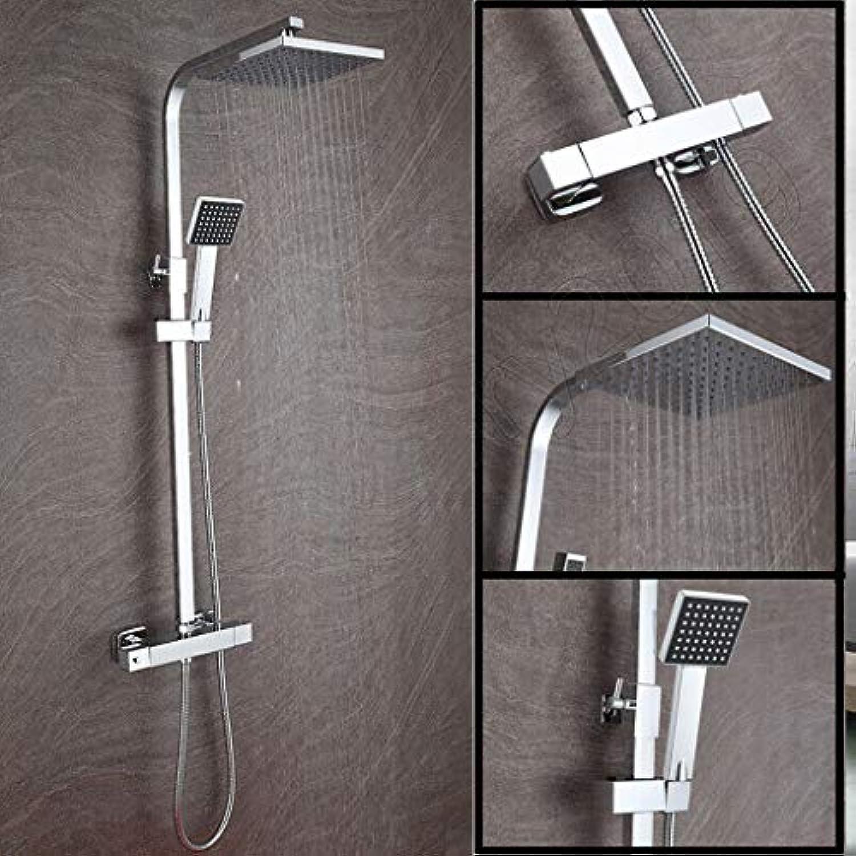 Sichtbarer Brausemischer-Hahn 2-Wege-Thermostat-Brausemischer Brausegarnitur Wassersparer Chrom-Vierkantkopf + Handheld-Doppelkopfventil 10 Jahre Garantie