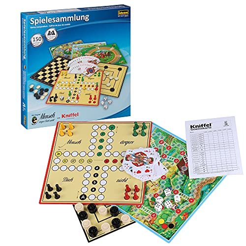 Idena 6102589 - Spielesammlung mit 150 Spielmöglichkeiten, inklusive original Mensch ärgere Dich nicht und Kniffel, für 1 bis 8 Spieler ab 6 Jahren