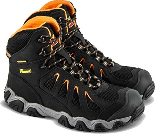 "Thorogood 804-6296 Men's Crosstrex Series - 6"" Waterproof, Composite Safety Toe Boot, Black/Orange - 10 W US"