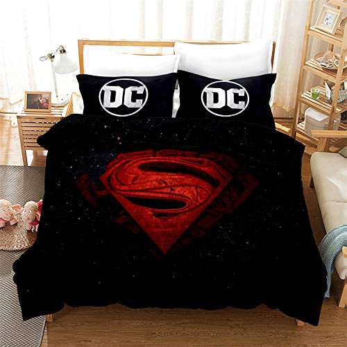 Probuk Superman Batman Flash Ropa de cama Marvel Comics Funda nórdica 100% Microfase, ropa de cama infantil Teen Joven Chica (A-01,220 x 260 cm (50 x 75 cm)