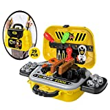 INKPOT 29 Pieces Kids Tool Set, Construction Accessories Toys Set with a Shoulder