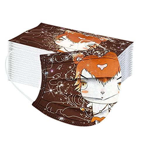 50 Stück Kinder Mundschutz Einweg für Maske_Einweg Mund-Nasenschutz 3 lagig Cartoon-Sternbild-Druck Halstuch Schals für Halloween (A-Leo, one size)