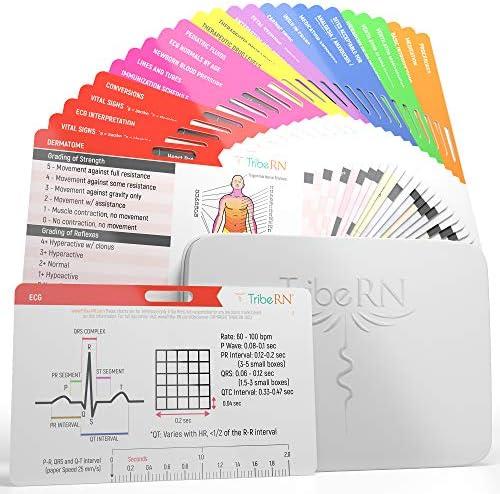 BadgeGuru Set by Tribe RN - 26 Nursing Badge Reference Cards - EKG, Vitals, Lab Values etc. Nurse Badge Card Set Includes Bonus Nursing Cheat Sheets Perfect for a Nurse, LPN, or Student …