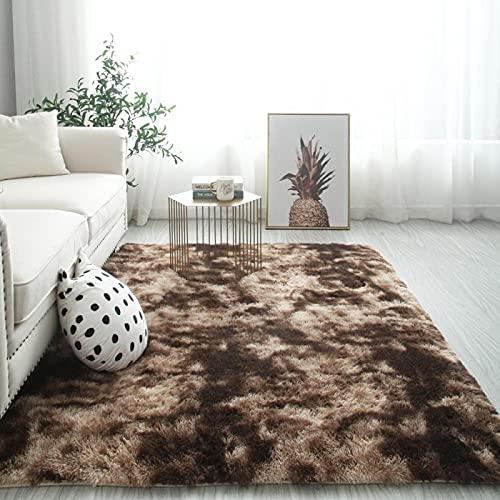 Zacht tie-dye tapijt,Moderne woonkamer Soft Touch Tie-Dye vloerkleed,Woonkamer slaapkamer tapijt, dressing langhaar mat-bruin_80 x 120cm