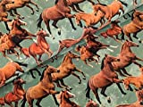 Baumwolljersey Digital Pferde Herde Olivegrün Horse Stoff