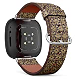 SMODDIX Replacement Band Compatible with Fitbit Sense/Fitbit Versa 3, Leather Strap Wristband Bracelet (Line Collection Brochure Flyer)