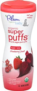 Plum Tots Red Strawberry and Beet Super Puff Baby Food, 1.5 Ounce - 8 per case.