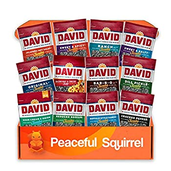 Peaceful Squirrel Variety DAVID Sunflower Seeds jumbo Variety of 12 Flavors - 5.25 Ounce