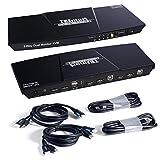 TESmart Dual Monitor 2x2 HDMI+DisplayPort KVM Switch 4K@60Hz 4:4:4 Ultra HD 2 PC 2 Monitor Switch mit zusätzlichem USB 2.0 Port&L/R Audioausgang einschließlich 2 Stück 1,5 m KVM-Kabel-Mattschwarz