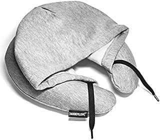 HoodiePillow Brand (Inflatable) Travel Hoodie Pillow-Gray