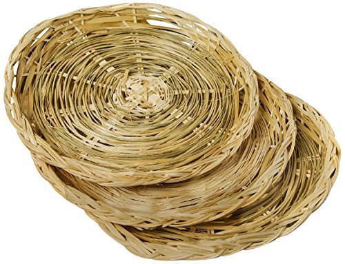 Fox Run 9' Paper Plate Holders Support Set of 4 Woven Rattan Basket Picnic New